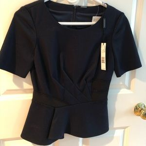 Elie Tahari navy and black peplum top